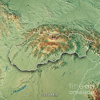 Slovakia Country 3D Render Topographic Map Border by Frank Ramspott