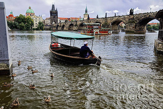 Small Boat on the Vltava River by George Oze
