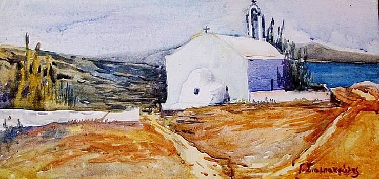 Small church near the sea. by George Siaba