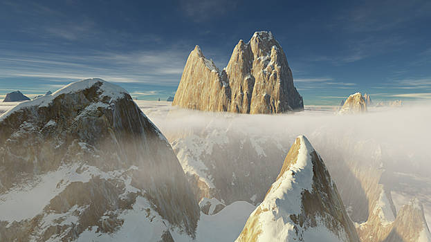 Small peak with snow covered ridge in front of giant Patagonia summit by Erik Tanghe