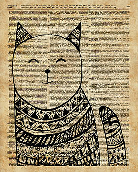 Smiling Cat Pen and Ink Zentagle Dictionary Art by Anna W
