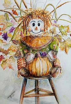 Smiling Girl Scarecrow by Bernadette Krupa
