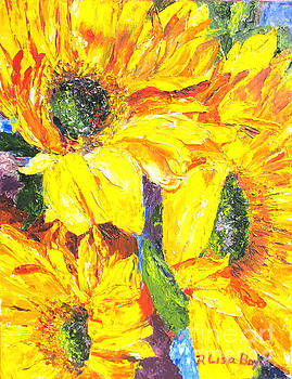 Smiling Sunflowers by Pallet Knife by Lisa Boyd