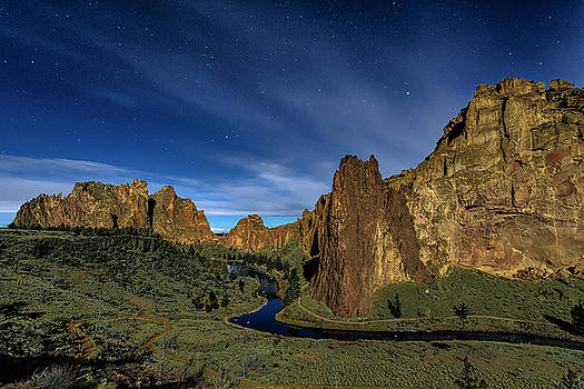 Smith Rock Lit By Super Full Moon by Ken Aaron
