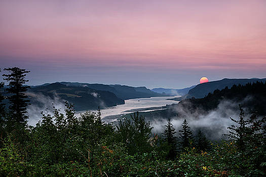Smokey Foggy Columbia River Gorge by Wes and Dotty Weber