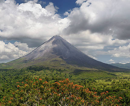 Reimar Gaertner - Smoking Arenal Volcano on San Carlos Plains in Costa Rica with o