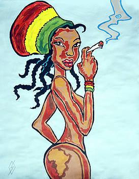 Smoking Rasta Woman by Stormm Bradshaw