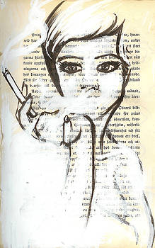 Smoking Woman Marker Drawing on Vintage Book Page by Greg Noblin