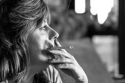 Smoking Woman With Feathered Hair by SR Green