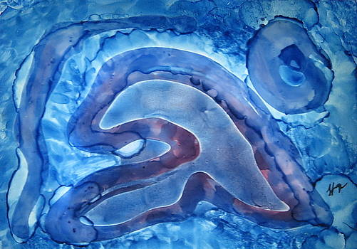 Snail on the Move Through the Blue Lagoon by Tammy Finnegan