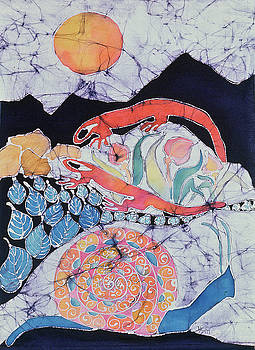 Snail with Red Efts by Carol  Law Conklin