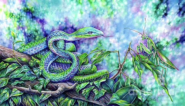 Snake and Praying Mantis by Anne Koivumaki - Fine Art Anne