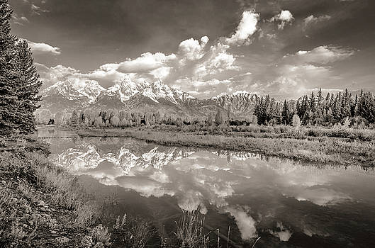 Snake River Reflection Grand Teton Monochromatic by Scott McGuire