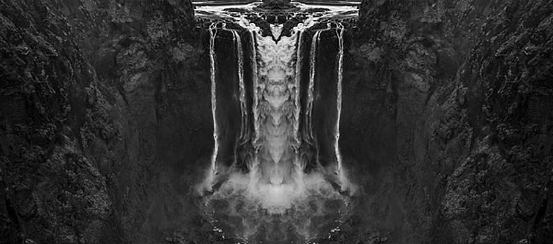 Pelo Blanco Photo - Snoqualmie Falls Black and White Reflection