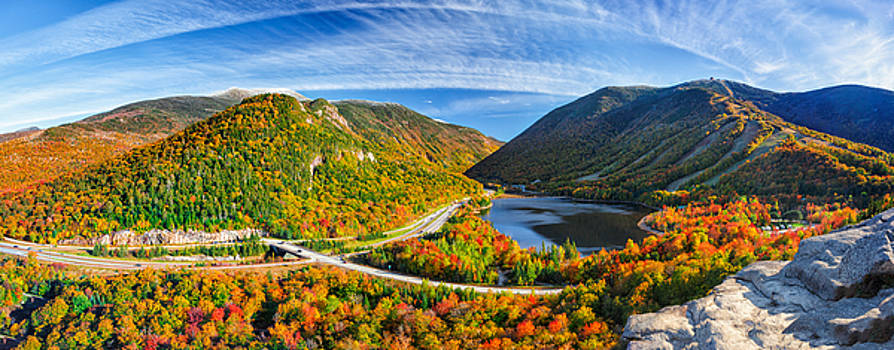 Snow Capped Franconia Notch in Autumn 2015 by Shell Ette