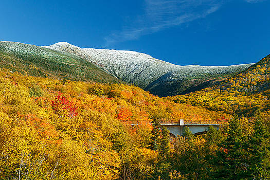 Snow Capped Mt Lafayette in Autumn 2015 by Shell Ette