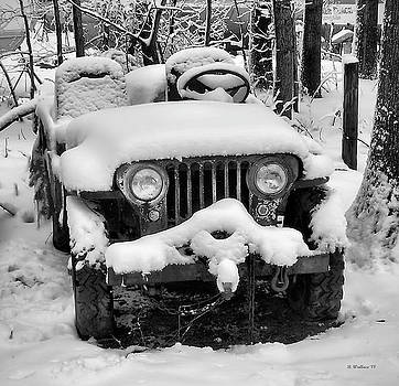 Snow Covered Jeep In BW by Brian Wallace