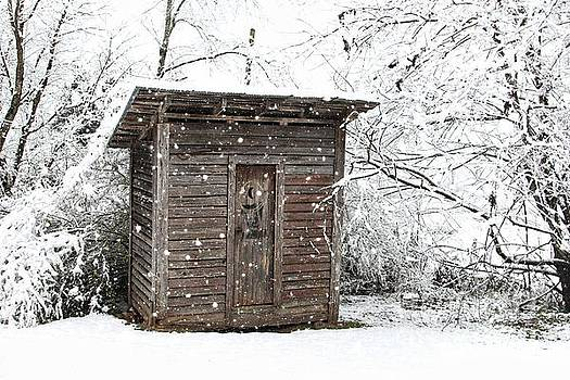 Snow Covered Outhouse by Benanne Stiens