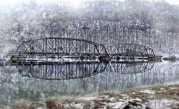 Snow Covered Railroad Treslte  by Lj Lambert