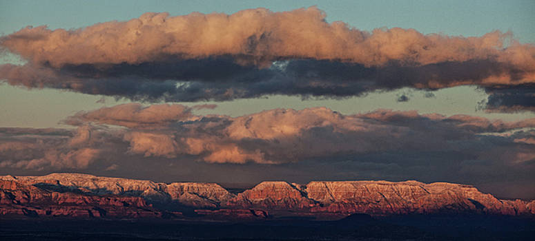 Snow covered Red Rock Panorama by Ron Chilston