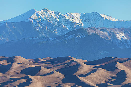 James BO Insogna - Snow Covered Rocky Mountain Peaks with Sand Dunes