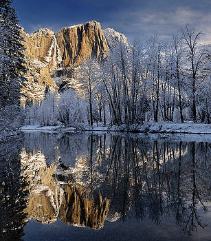 Reimar Gaertner - Snow covered trees and Yosemite Point and the Upper Fall reflect