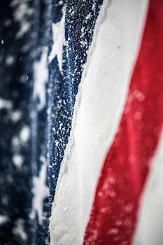 Snow Flakes American Flag by Donnie Whitaker