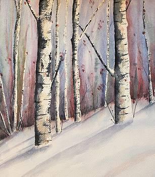 Snow in Birches by Brenda O'Quin