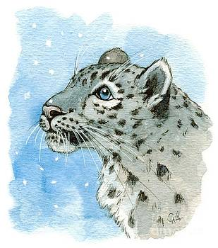 Snow Leopard and snow 860 by Svetlana Ledneva-Schukina