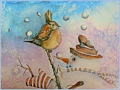 Frosty tosses Snowballs at the Bird.  by Mindy Newman