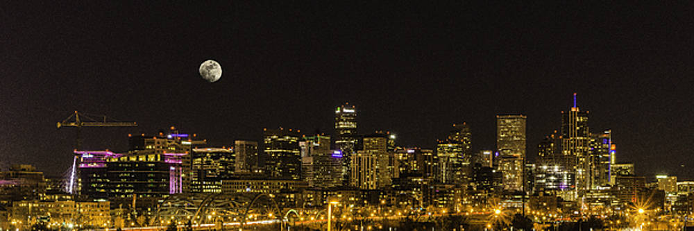 Snow Moon Over Denver Skyline by Tony Lazzari