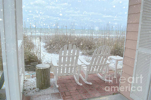 Snow On The Beach 4 by Kathy Baccari