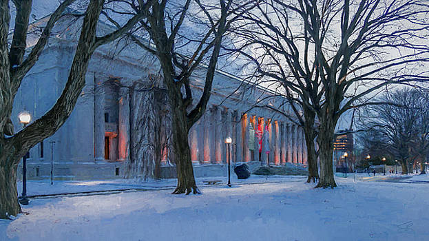 Snow on the Fenway side of mfa by Thomas Logan