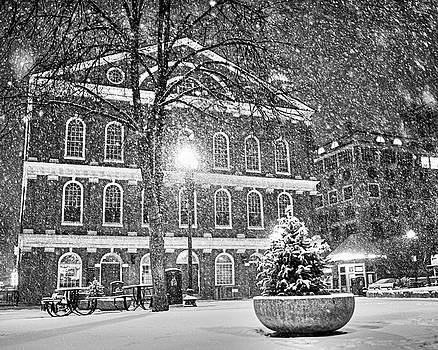 Toby McGuire - Snow Storm in Faneuil Hall Quincy Market Boston MA Black and White