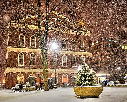 Snow Storm in Faneuil Hall Quincy Market Boston MA by Toby McGuire