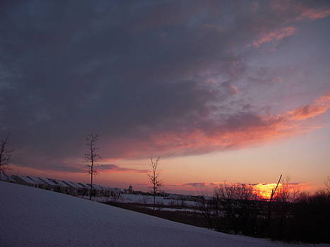 Snow with Sunset by Deborah Finley
