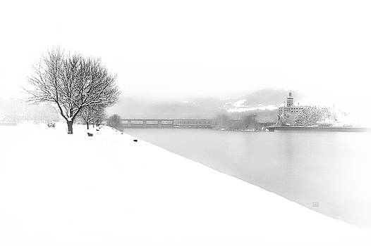 Snowfall on the River Danube at Ybbs by Menega Sabidussi