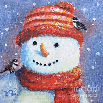 Snowman and Birds Square by Vickie Wade