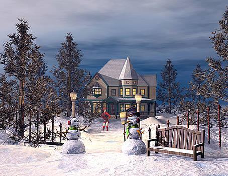 Snowman Greeting by John Junek