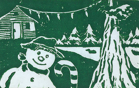 Snowman In Sequoia by john Loest