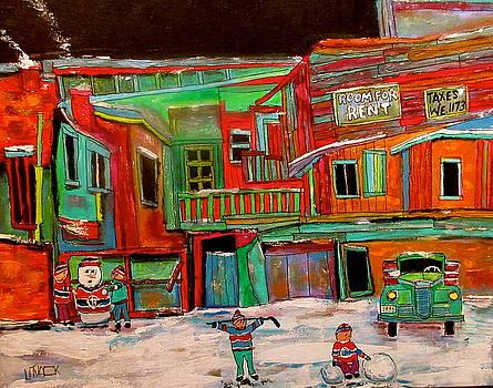 Snowman in the Winter Lane by Michael Litvack