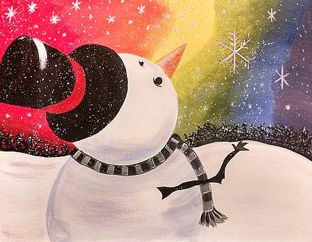 Snowman with colorful sky by Barbara Unruh