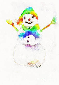 Claire Bull - Snowman with Rainbow 1