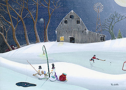 Snowmen On Hockey Pond by Thomas Griffin