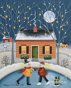 Snowmen Skaters by Mary Charles