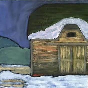 Snowy Barn at Dusk by Molly Fisk