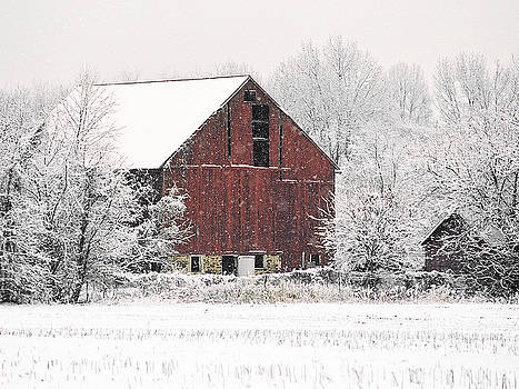 Snowy Barn by Kelly S Andrews