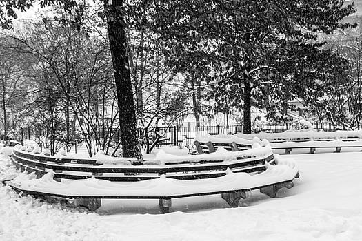 Snowy Benches by Cornelis Verwaal