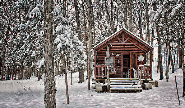 Snowy Cabin by Perry Harmon