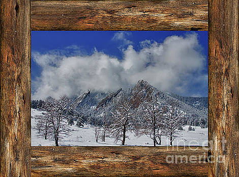 Snowy Flatirons Boulder Colorado Rustic Cabin Window View by James BO Insogna